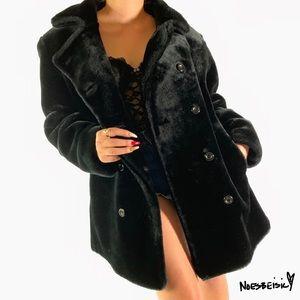 Express Vintage Faux Fur Button up Coat